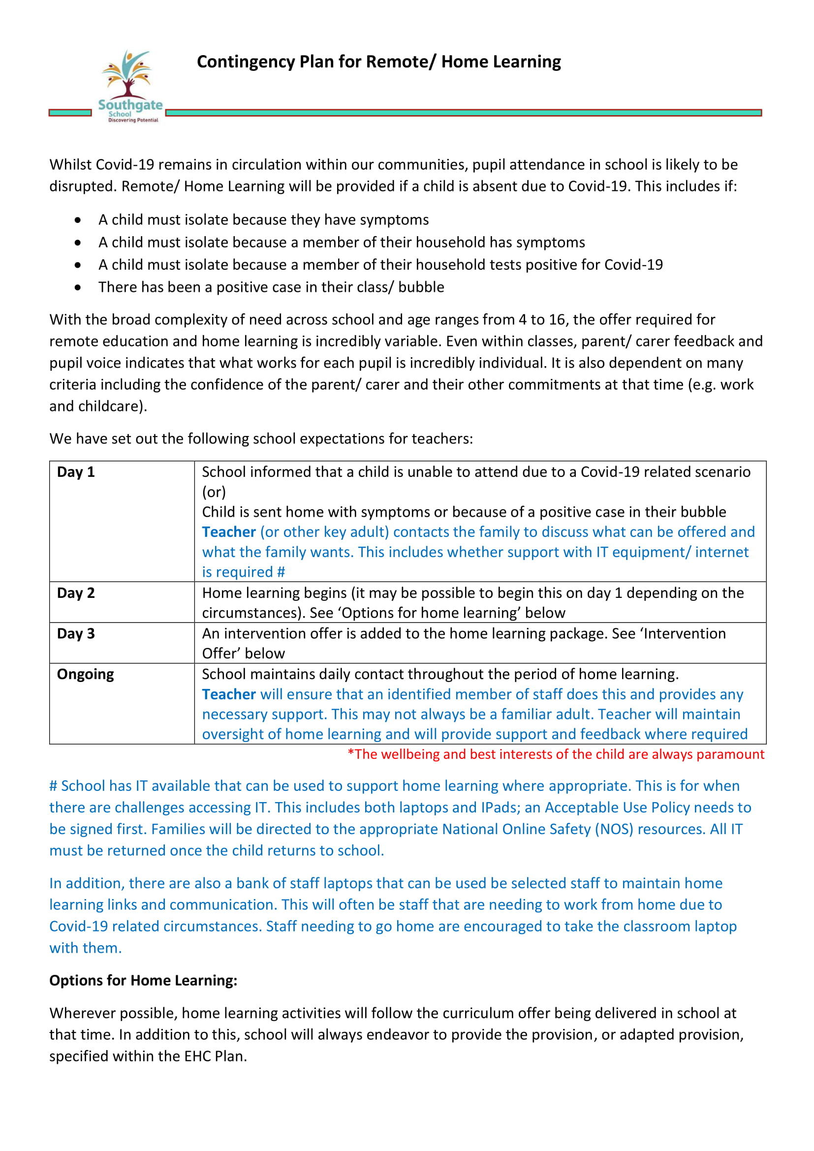 Contingency Plan for Remote Education and Home Learning-1