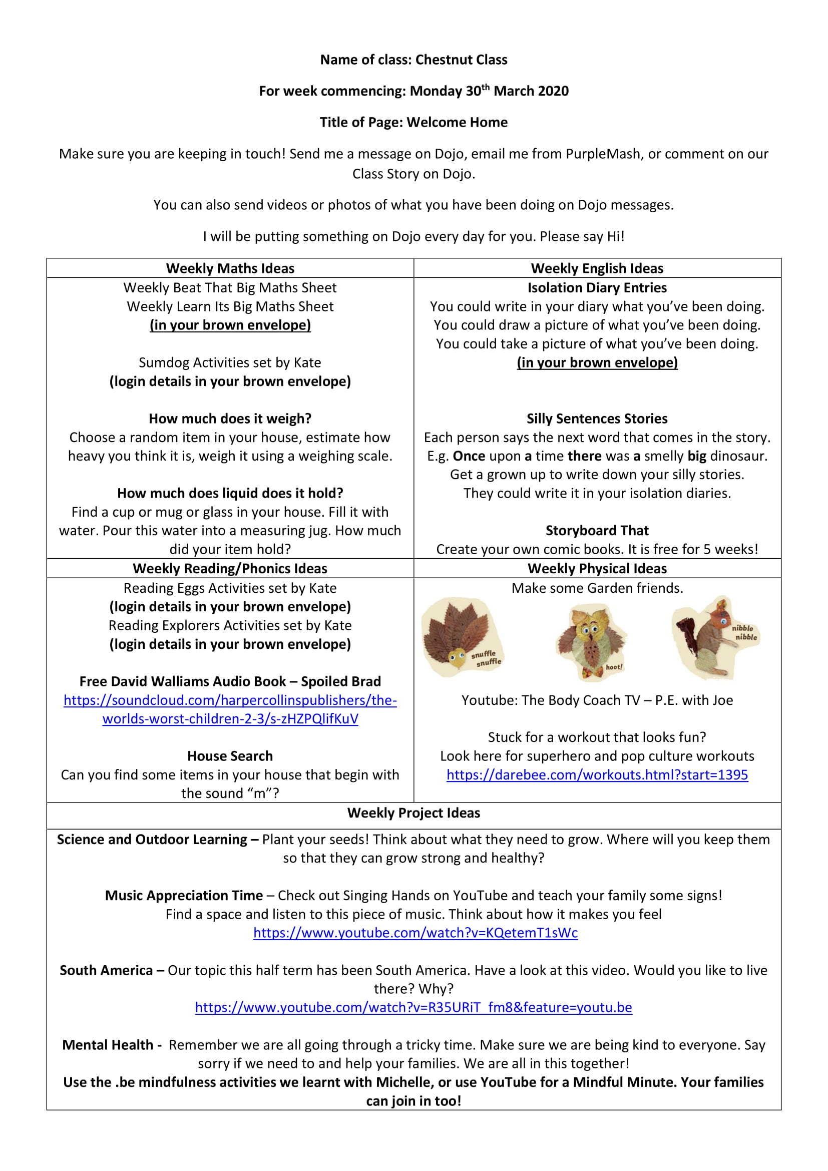 Chestnut Weekly Activities for 30th March 2020-1