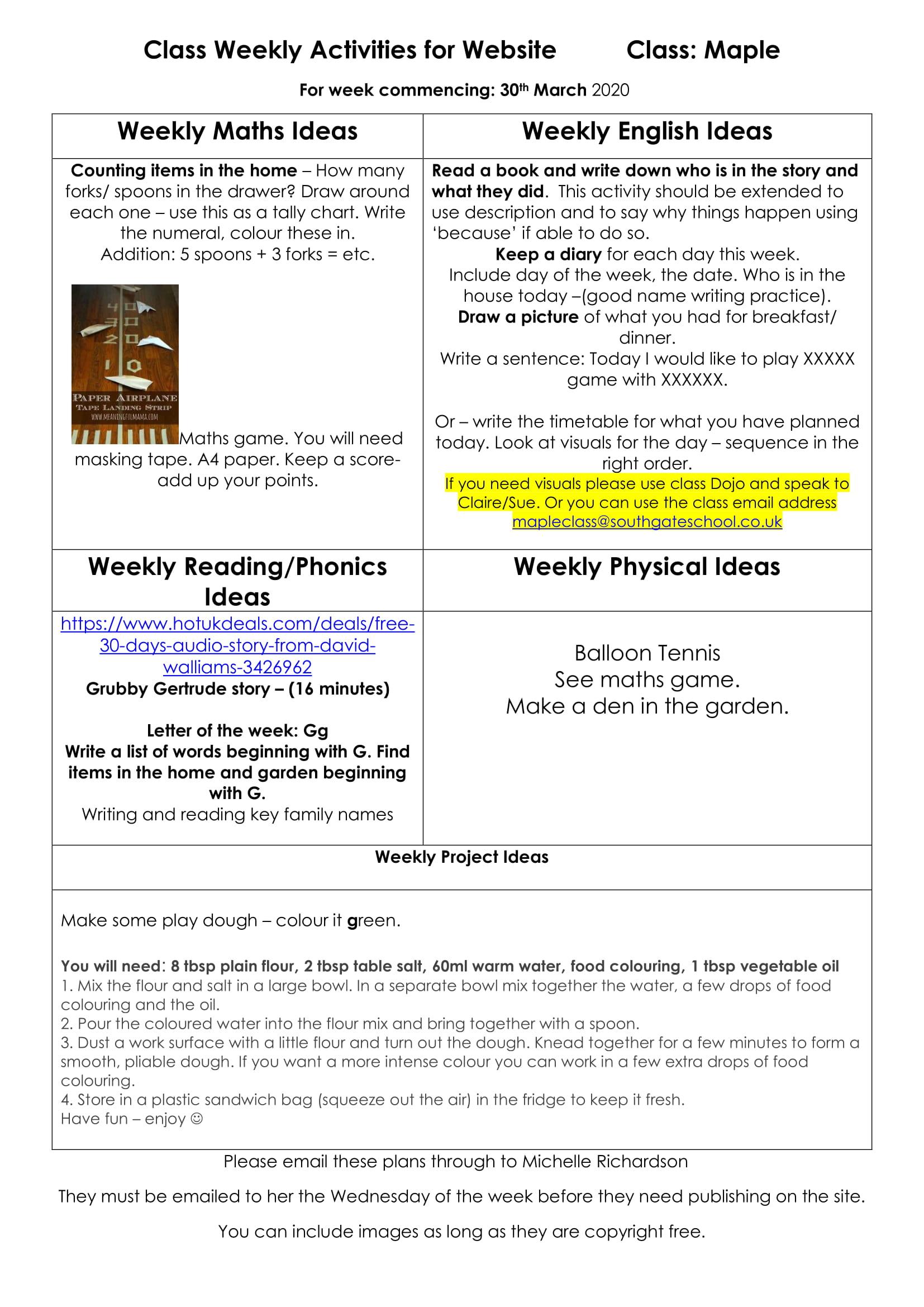 Class Weekly Activities for Website 1-1