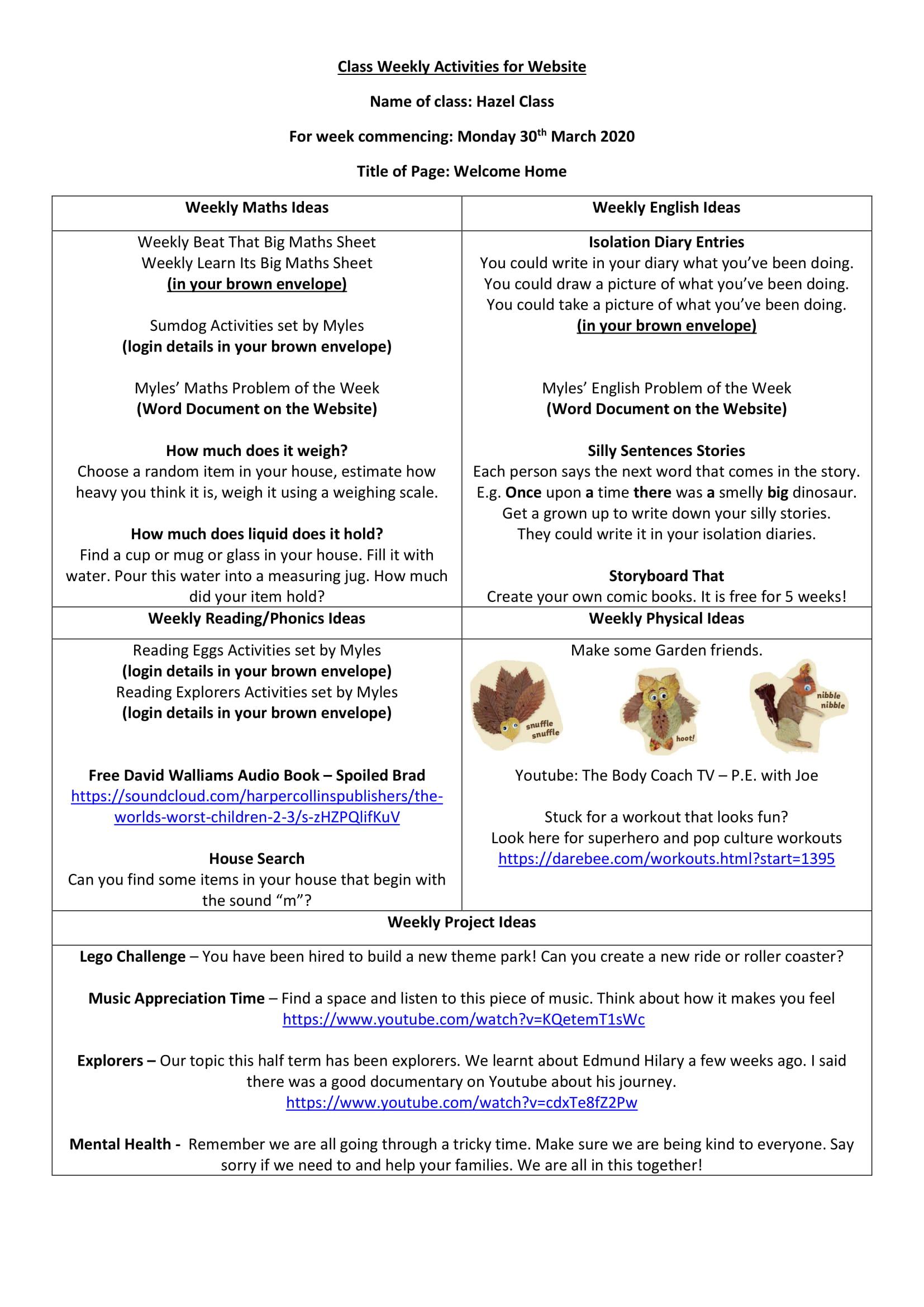 Hazel Class Worksheet Week 1-1
