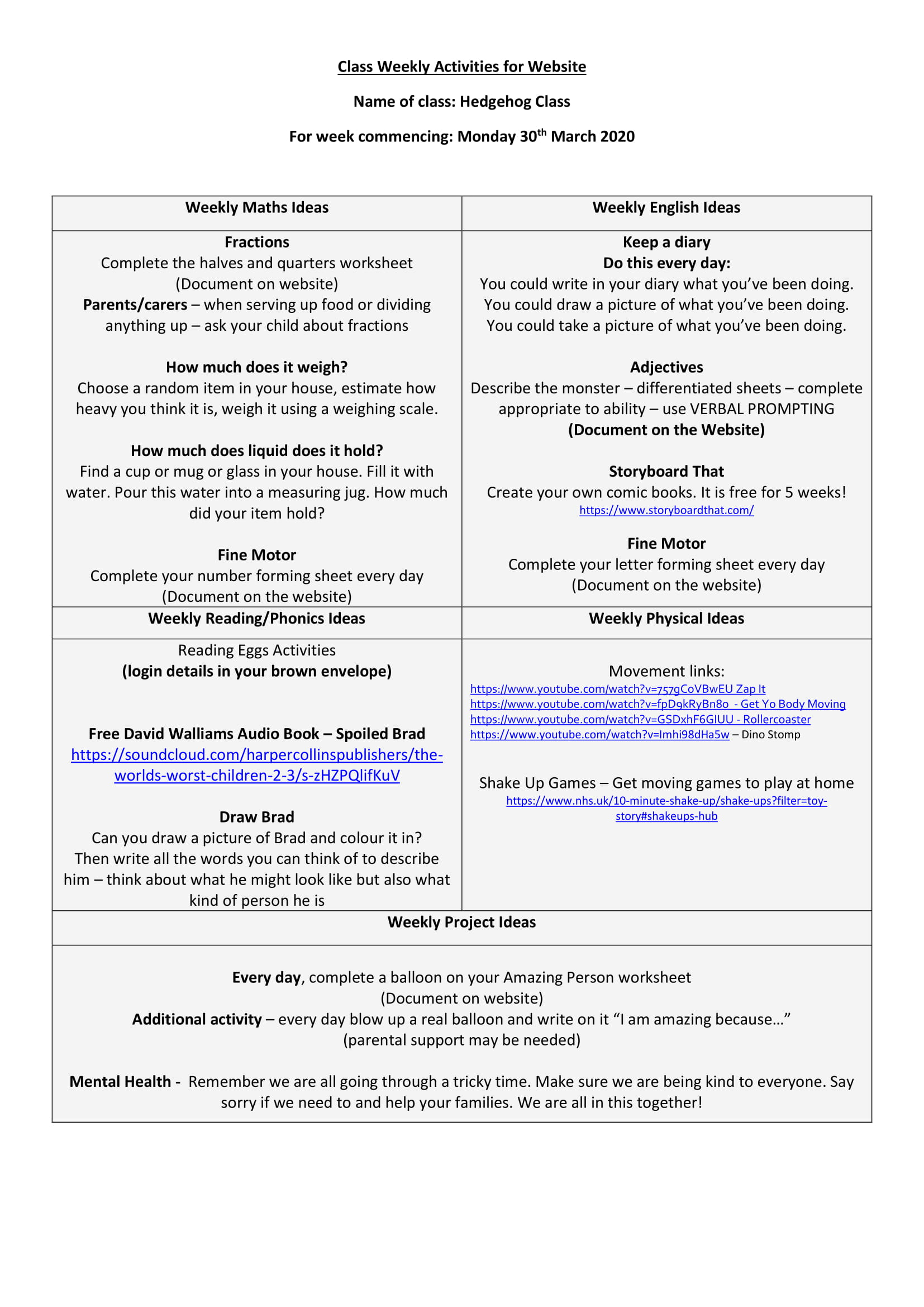 Hedgehog Weekly Activities for 30th March 2020-1