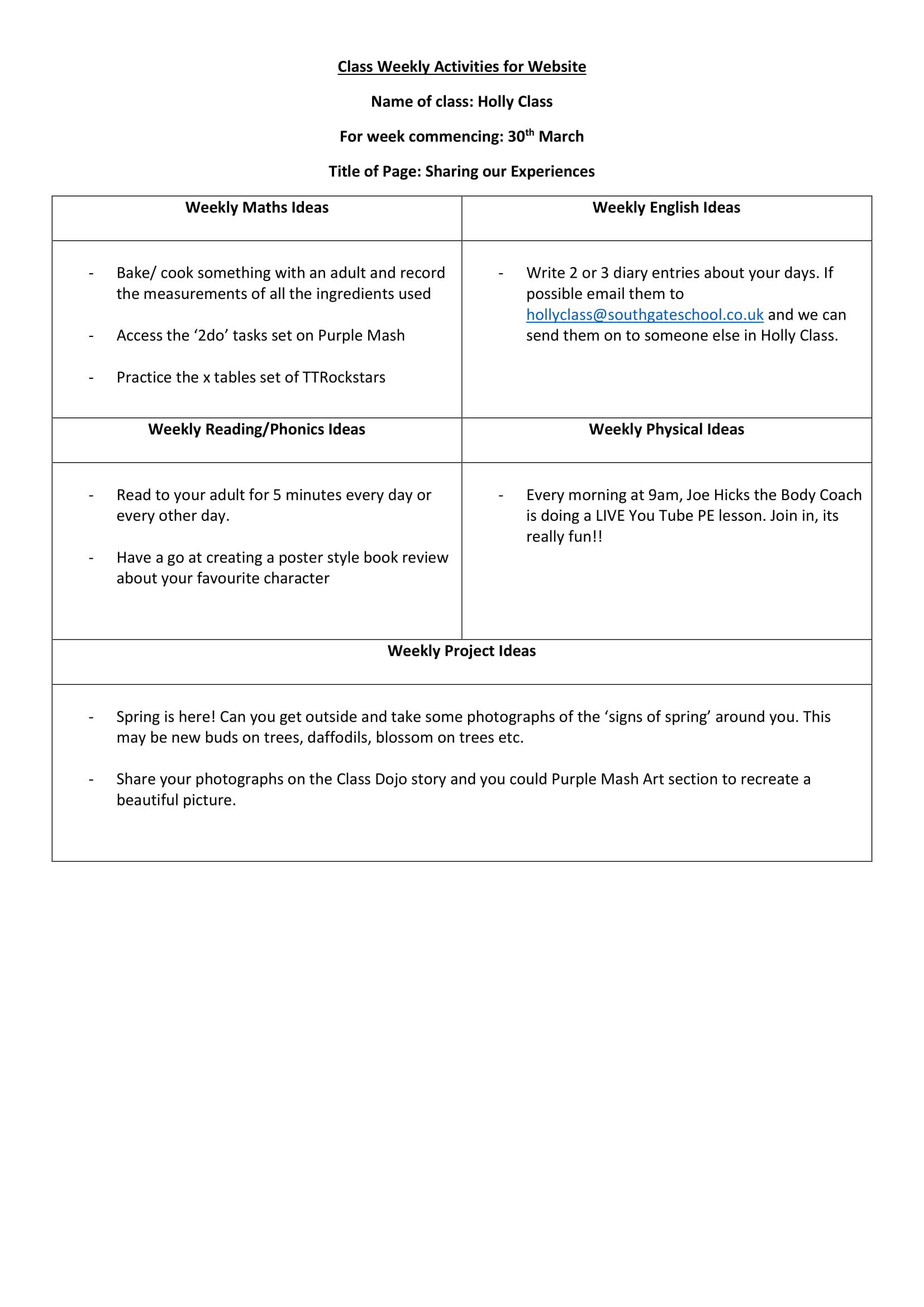 Holly Class Worksheet Week 1-1