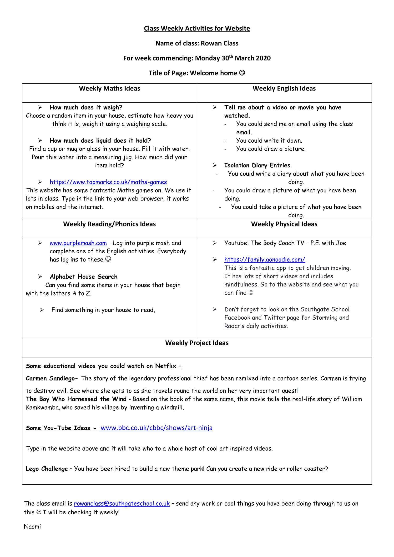 Rowan Class Weekly Activities for 30th March 2020-1