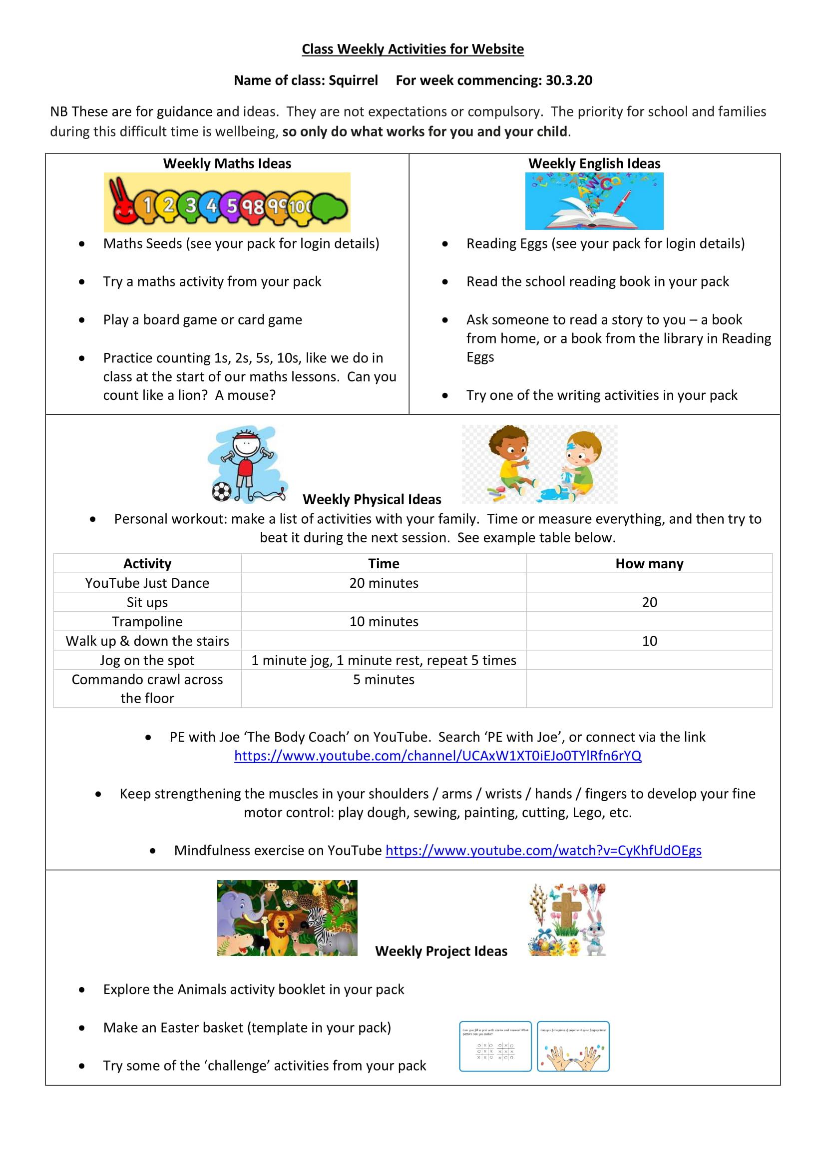 Squirrel Class Worksheet Week 1-1