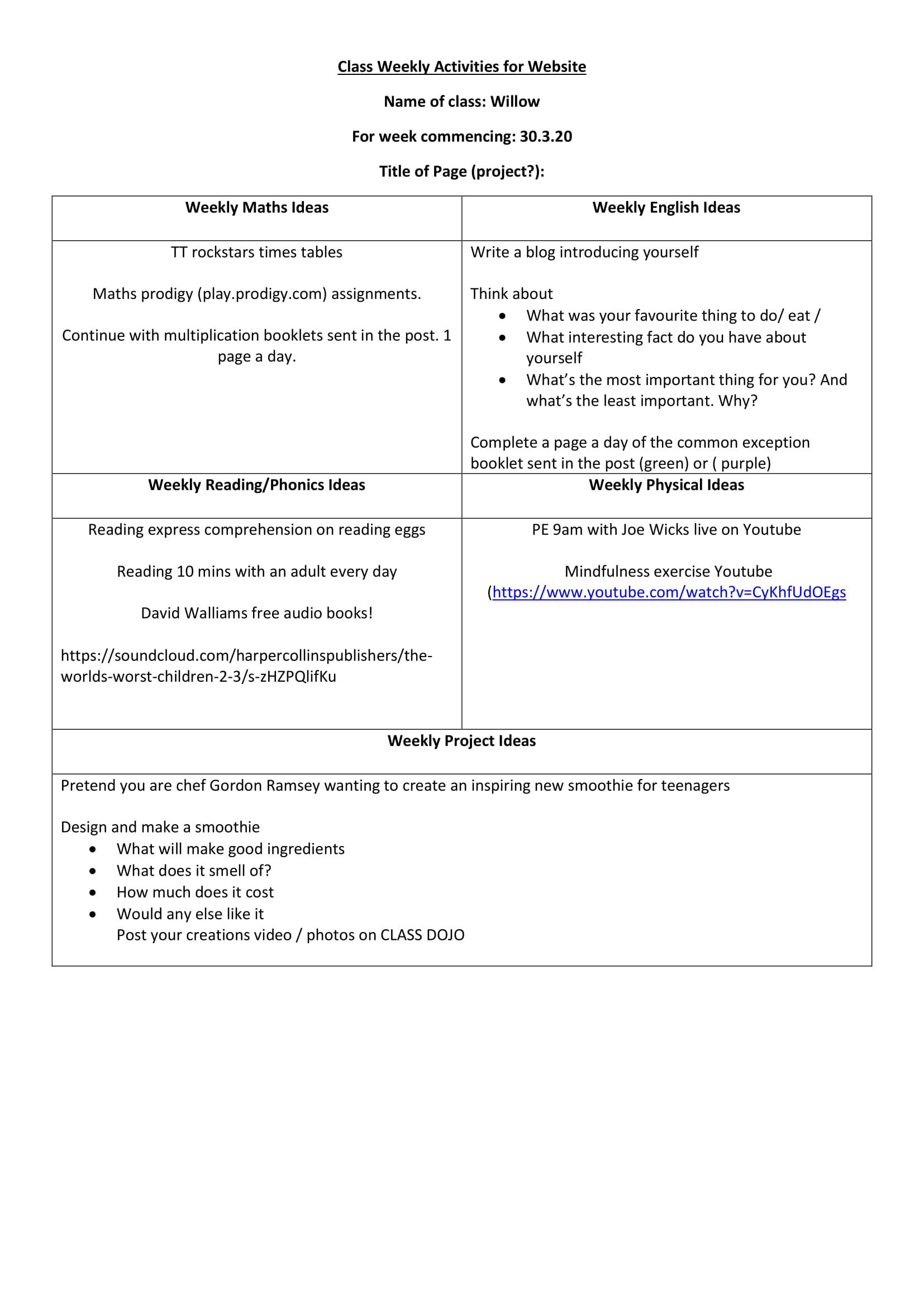 Willow Class Worksheet week 1-1